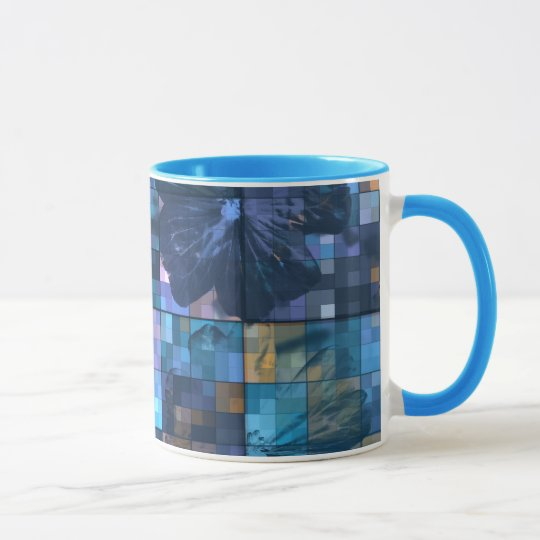 Teal and Blue Flower Mug