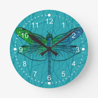 Teal and Blue Watercolor Dragonfly Patio Round Clock