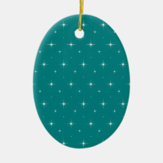 Teal And Bright Stars Elegant Pattern Christmas Tree Ornaments