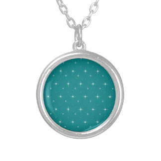 Teal And Bright Stars Elegant Pattern Silver Plated Necklace