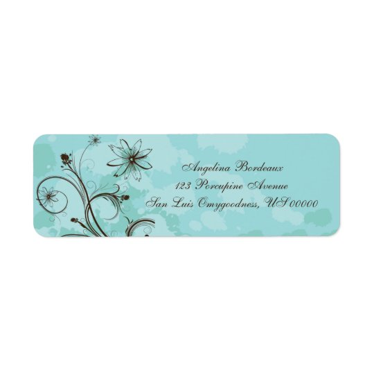 Teal and Brown Abstract Return Address Label
