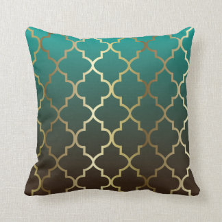 Teal and Brown Blend | Gold Quatrefoil Pattern Cushion