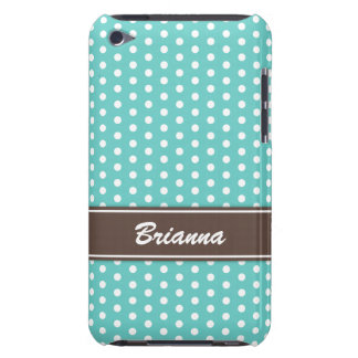 Teal and brown polka dots iPod case, aqua sea blue iPod Touch Case