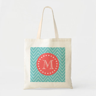 Teal and Coral Chevron with Custom Monogram Budget Tote Bag