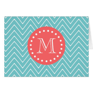 Teal and Coral Chevron with Custom Monogram Card