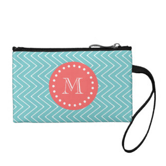 Teal and Coral Chevron with Custom Monogram Coin Purse