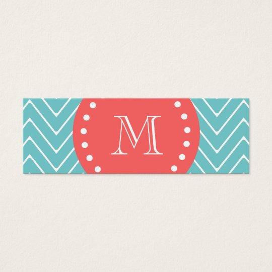 Teal and Coral Chevron with Custom Monogram Mini Business Card