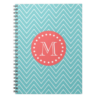 Teal and Coral Chevron with Custom Monogram Notebooks