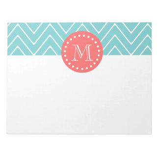 Teal and Coral Chevron with Custom Monogram Notepad
