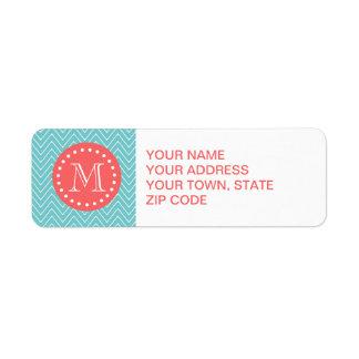Teal and Coral Chevron with Custom Monogram Return Address Label