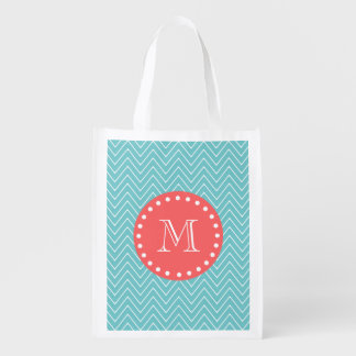 Teal and Coral Chevron with Custom Monogram Reusable Grocery Bag