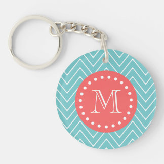 Teal and Coral Chevron with Custom Monogram Single-Sided Round Acrylic Key Ring