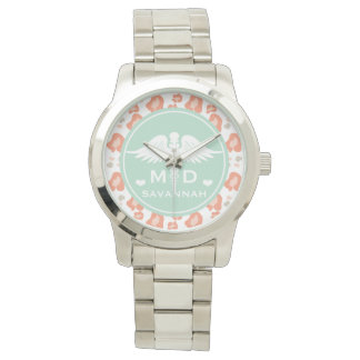 TEAL AND CORAL LEOPARD PRINT MD DOCTOR WATCH