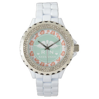 TEAL AND CORAL LEOPARD PRINT NURSE RN WRIST WATCHES