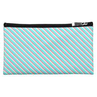Teal and Coral Stripes Makeup Bag