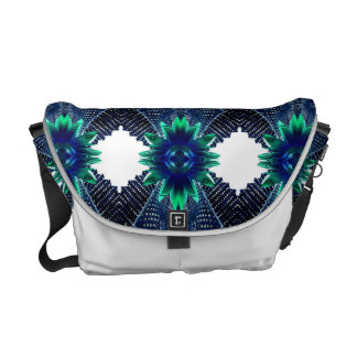 Teal And Dark Blue Dry Flower Messenger Bag