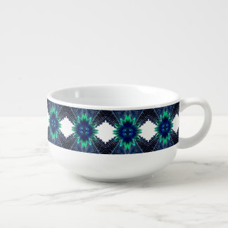 Teal And Dark Blue Dry Flower Soup Mug