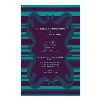 Teal and Dark Blue Striped Wedding Personalized Flyer