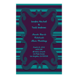 Teal and Dark Blue Striped Wedding Customised Stationery