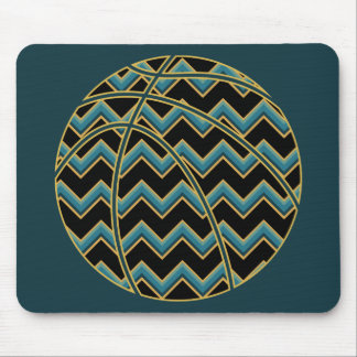 Teal and Gold Chevron Basketball Mouse Mat