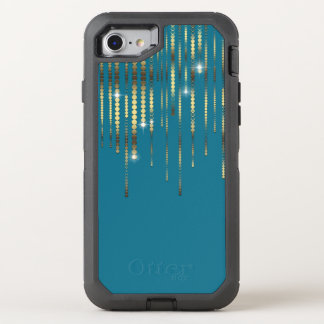 Teal and Gold Coins Sparkle Drape Elegant Luxury OtterBox Defender iPhone 7 Case