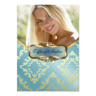 Teal and Gold Damask Photo Invite