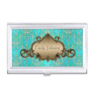Teal and Gold Fancy Damask Business Card Holder