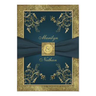 Teal and Gold Floral Monogram Wedding Invitation