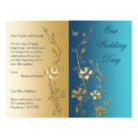 Teal and Gold Floral Wedding Program Personalized Flyer