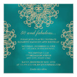 TEAL AND GOLD INDIAN INSPIRED BIRTHDAY 13 CM X 13 CM SQUARE INVITATION CARD
