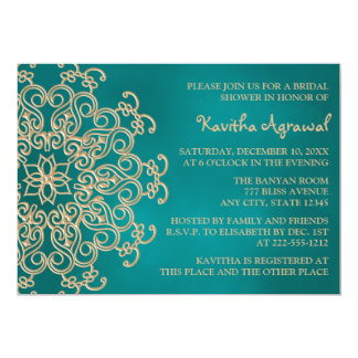 Teal and Gold Indian Inspired Bridal Shower 13 Cm X 18 Cm Invitation Card