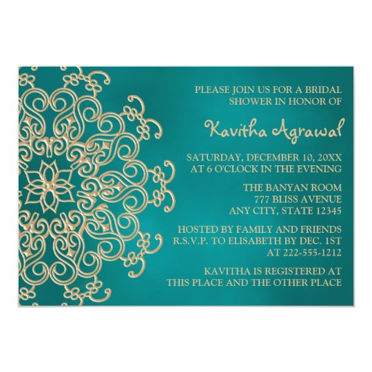 Teal and Gold Indian Inspired Bridal Shower Card