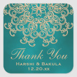 TEAL AND GOLD INDIAN INSPIRED THANK YOU LABEL SQUARE STICKERS