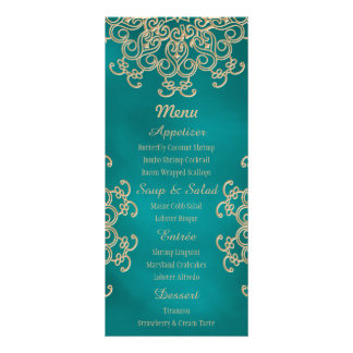 Teal and Gold Indian Style Menu Cards Personalised Rack Card