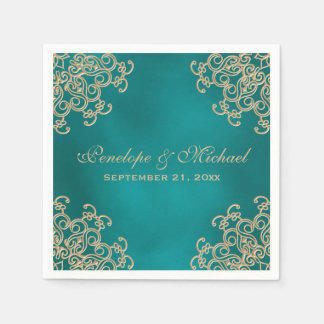 Teal and Gold Indian Style Wedding Paper Napkin