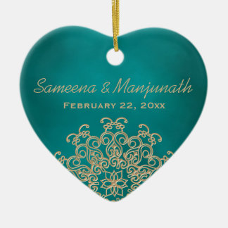 Teal and Gold Indian Style Wedding Party Favor Christmas Ornament