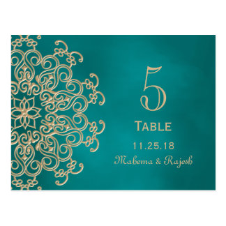 TEAL AND GOLD INDIAN WEDDING TABLE NUMBER CARD POSTCARD