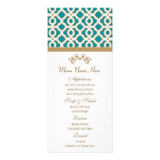 Teal and Gold Moroccan Menu Rack Card
