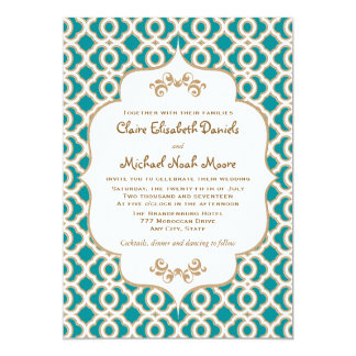 Teal and Gold Moroccan Wedding Invitations