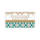 Teal and Gold Return Address Labels
