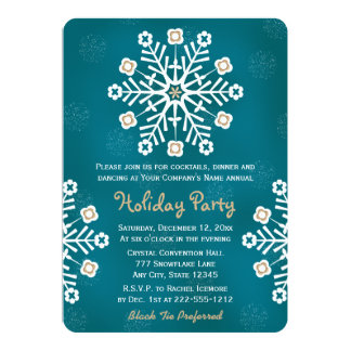 Teal and Gold Snowflake Corporate Holiday Party 13 Cm X 18 Cm Invitation Card