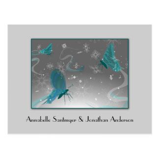 Teal and Gray Butterflies Save The Date Postcard