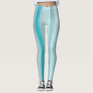 Teal and Gray Striped Leggings