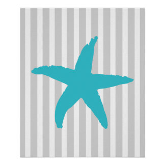 Teal and Gray Striped Nautical Sea Star Poster