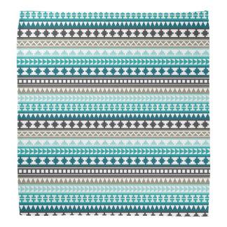 Teal and Gray Tribal Aztec Pattern Bandannas