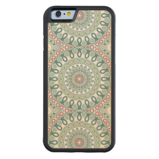 Teal and Green Global Style Medallion Carved Maple iPhone 6 Bumper Case