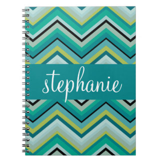 Teal and Green Huge Chevron Pattern Custom Name Notebook