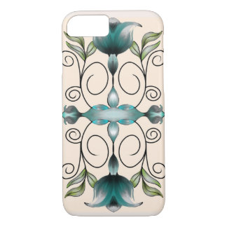 Teal and Green Modern Flowers Design iPhone 7 iPhone 7 Case