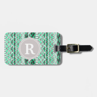 Teal and Grey Aztec Chevron Monogram Luggage Tag