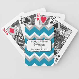 Teal and Grey Chevron Monogram Playing Cards